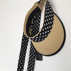 Marcus Adler Visor with polka dot trim and ties